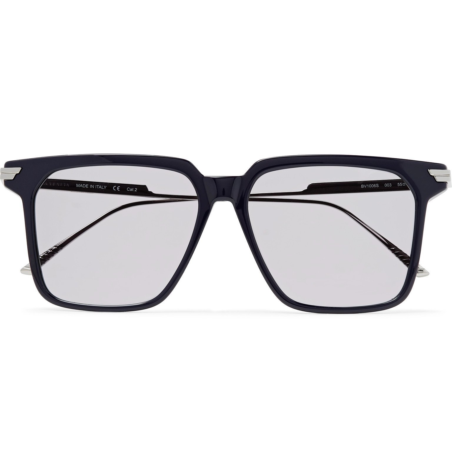 Photo: Bottega Veneta - Square-Frame Acetate and Silver-Tone Sunglasses - Blue