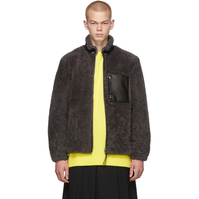 Photo: Loewe Grey and Black Shearling Jacket