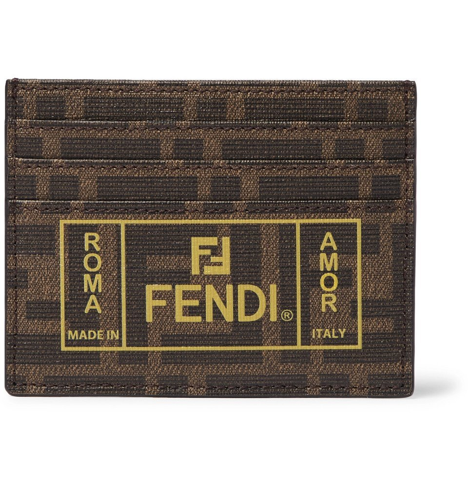 Photo: Fendi - Logo-Print Cross-Grain Leather Cardholder - Brown