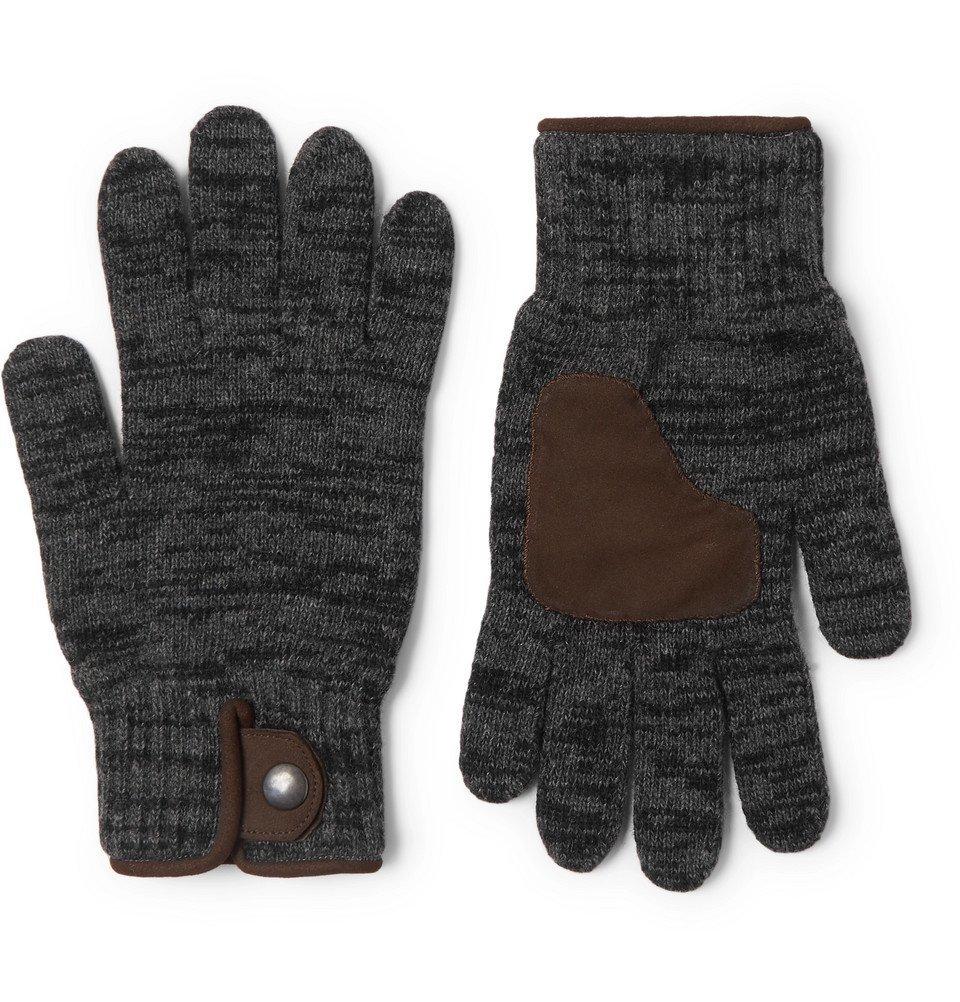 Photo: Oliver Spencer - Suede-Trimmed Wool-Blend Gloves - Gray