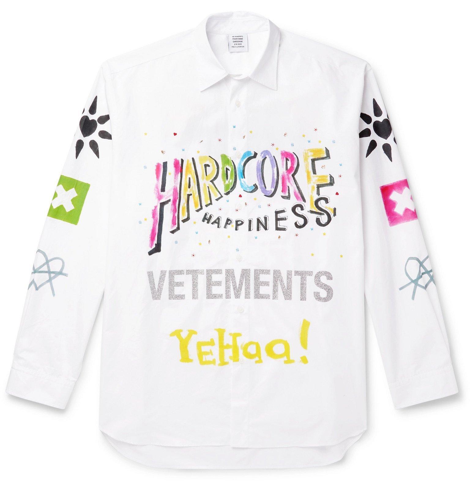 Photo: Vetements - Oversized Printed Cotton-Poplin Shirt - White