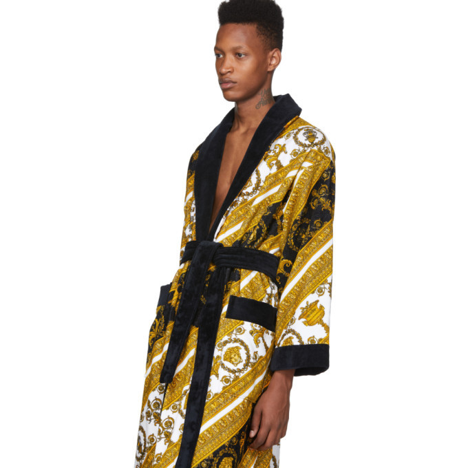 Versace White and Gold I Heart Baroque Robe