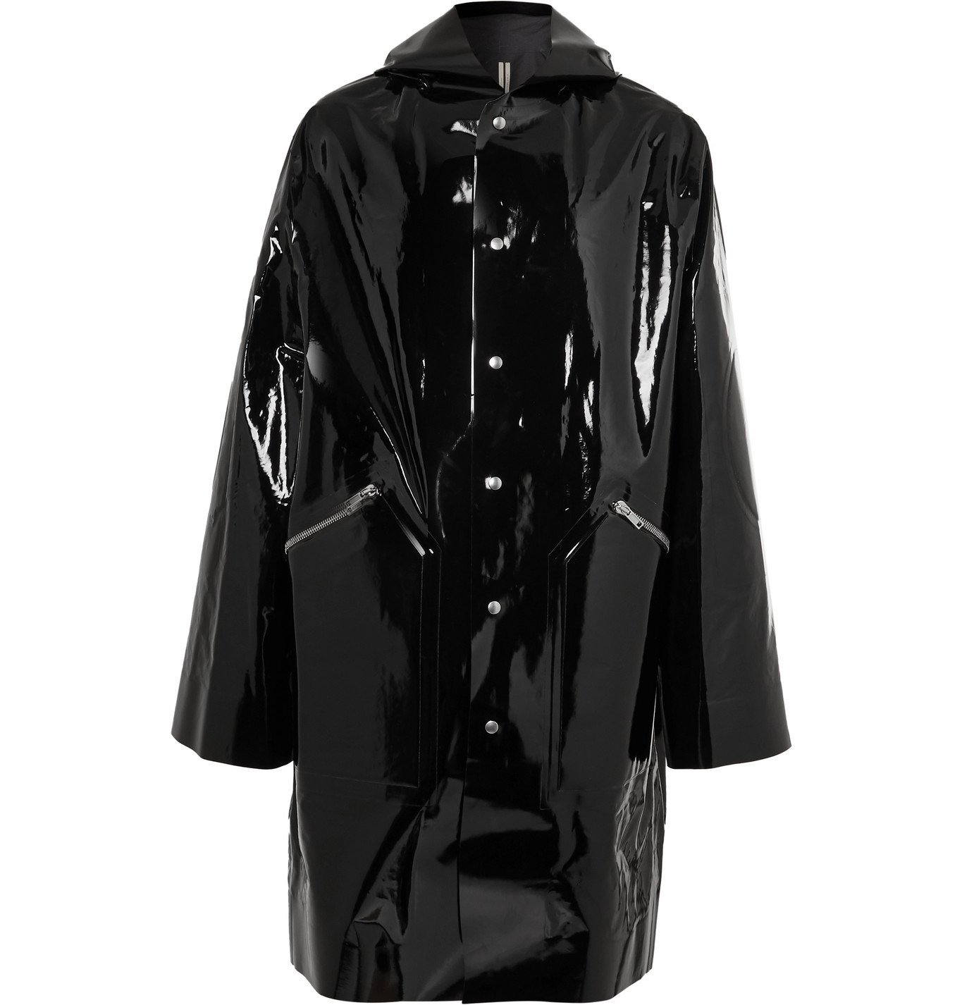 Photo: Rick Owens - Oversized Coated Cotton-Blend Hooded Coat - Black
