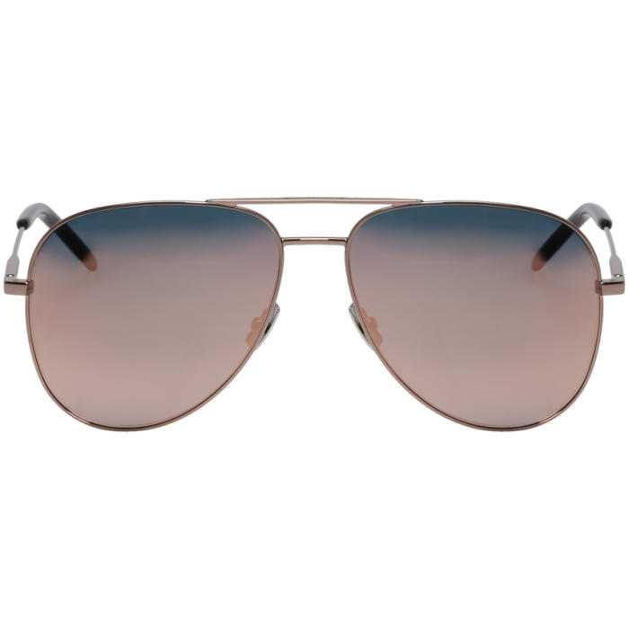 Photo: Saint Laurent Rose Classic 11 Aviator Sunglasses