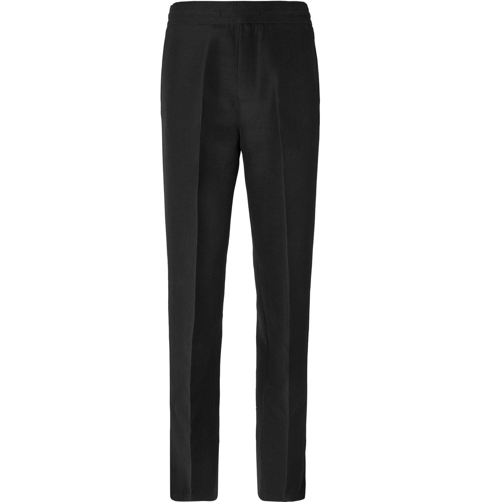 Dunhill - Black Wide-Leg Split-Hem Silk and Virgin Wool-Blend Trousers - Black