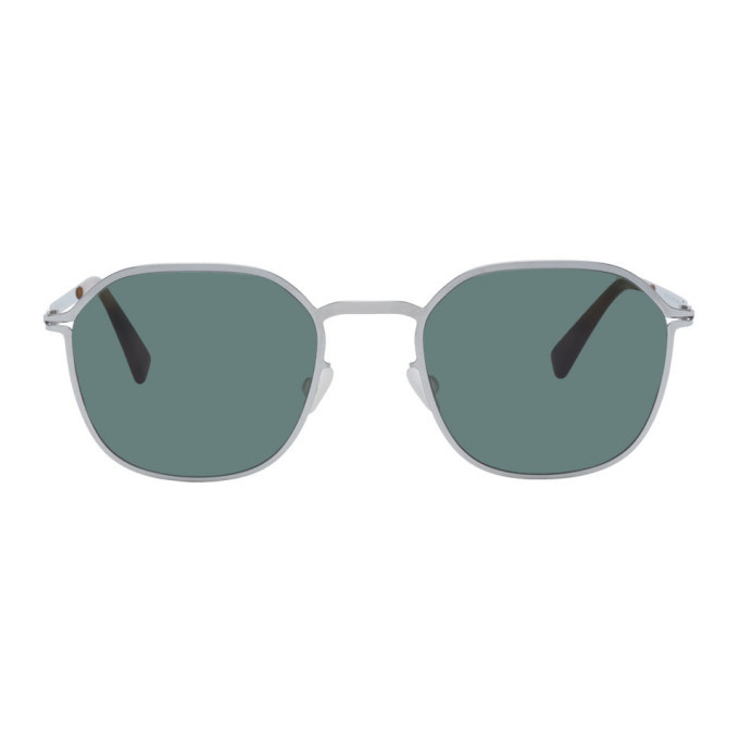 Photo: Mykita Silver and Green Lite Felix Sunglasses