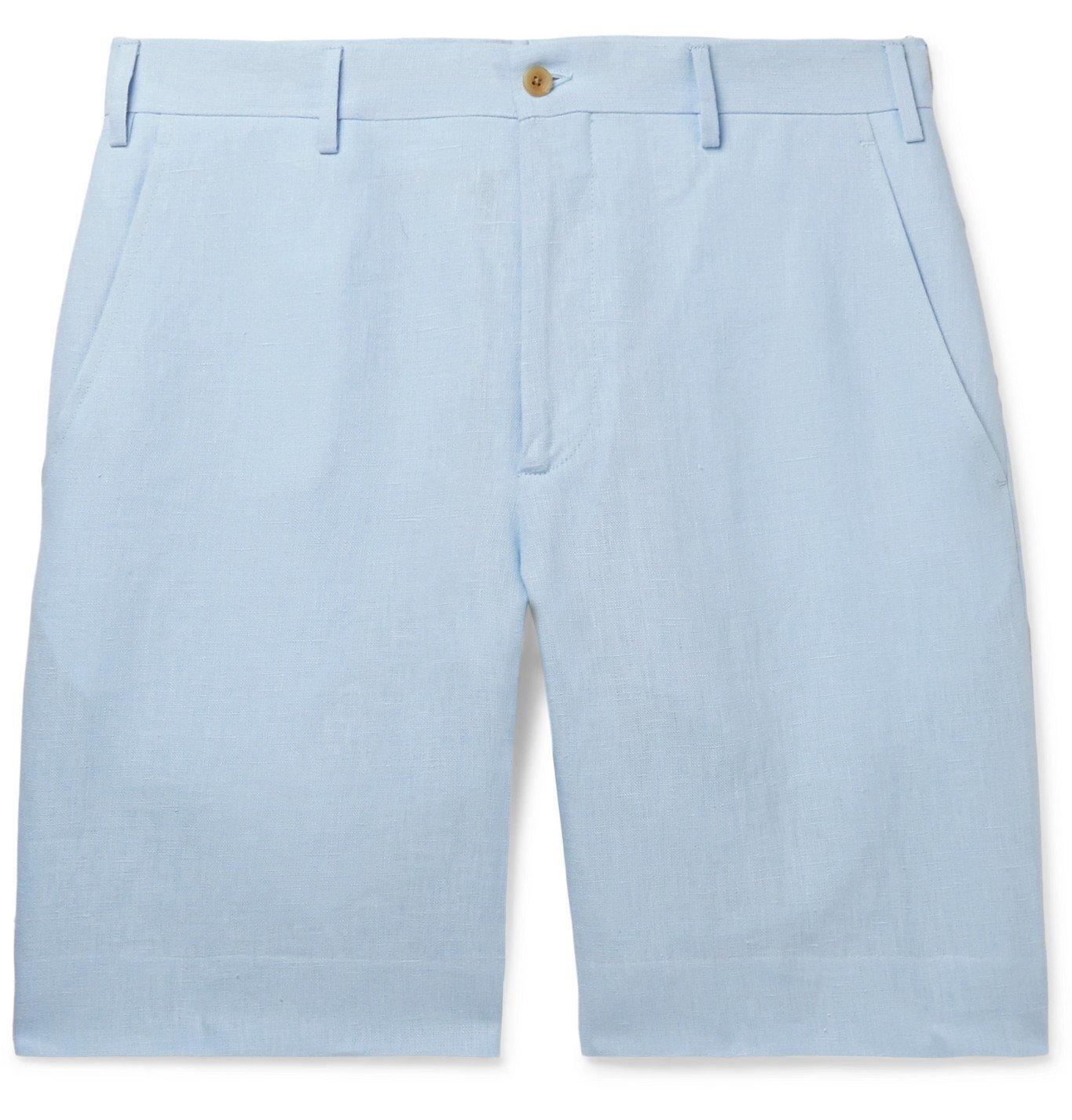 Photo: Anderson & Sheppard - Linen Shorts - Blue