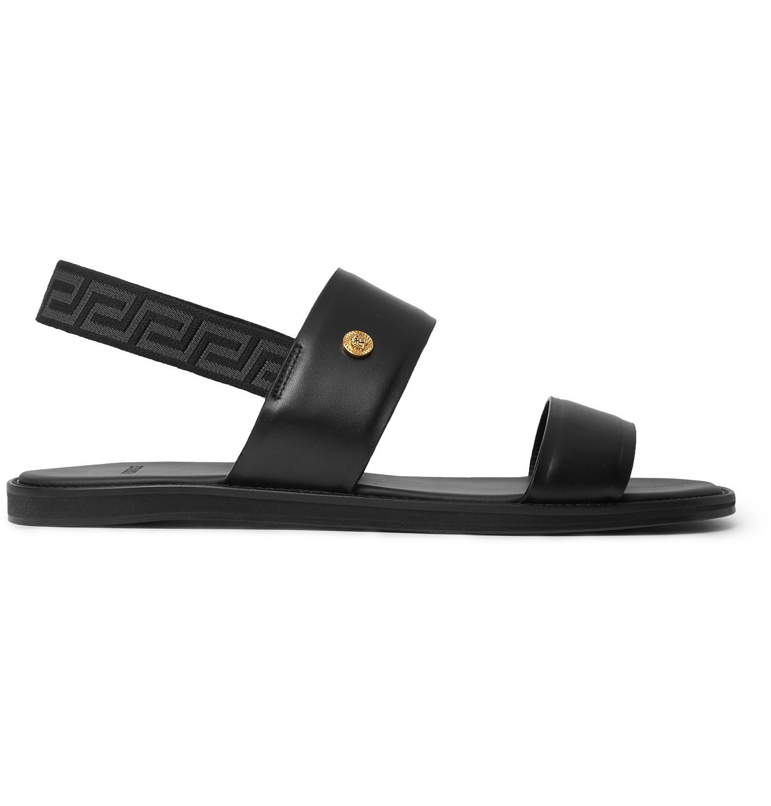 Versace - Appliquéd Leather Sandals - Black