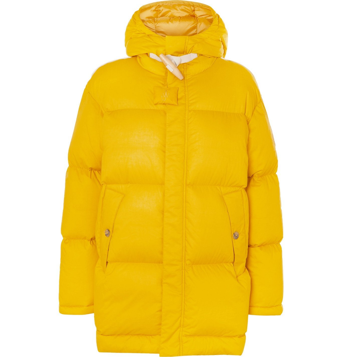 Photo: Moncler Genius - 1 Moncler JW Anderson Logo-Appliquéd Quilted Cotton Hooded Down Jacket - Yellow