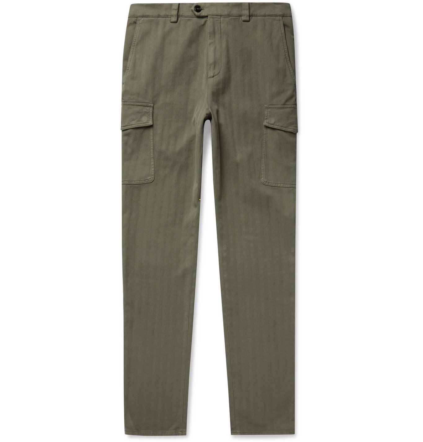 Photo: Brunello Cucinelli - Slim-Fit Herringbone Cotton-Blend Trousers - Green