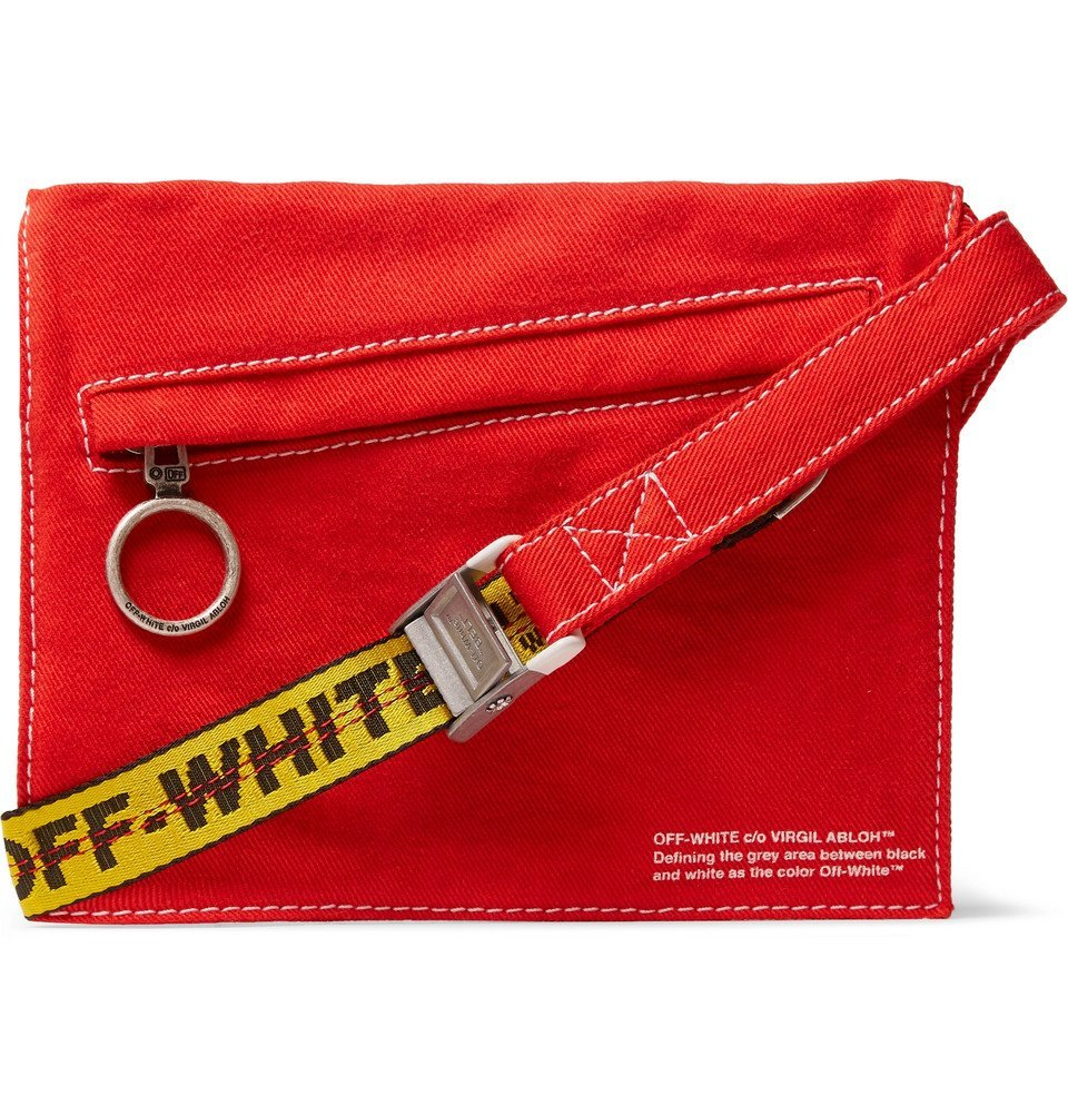 Photo: Off-White - Logo-Print Cotton-Twill Messenger Bag - Red