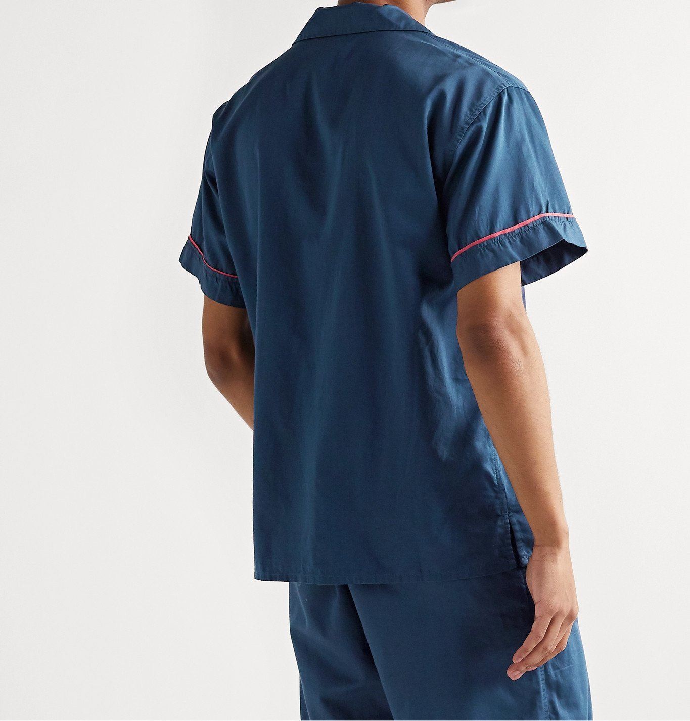 Cleverly Laundry - Piped Garment-Dyed Washed-Cotton Pyjama Shirt - Blue
