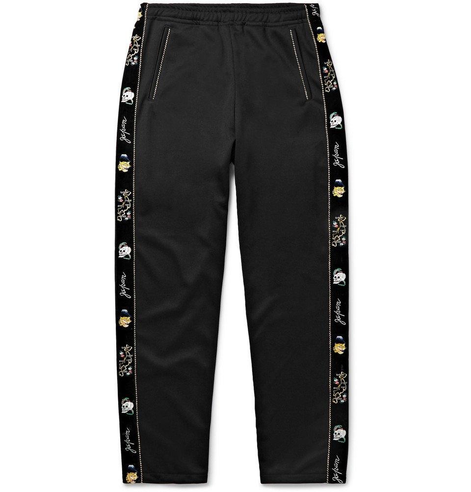 KAPITAL - Slim-Fit Embroidered Velvet-Trimmed Tech-Jersey Sweatpants - Men - Black