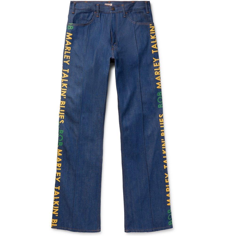 KAPITAL - Bob Marley Wide-Leg Printed Denim Jeans - Indigo