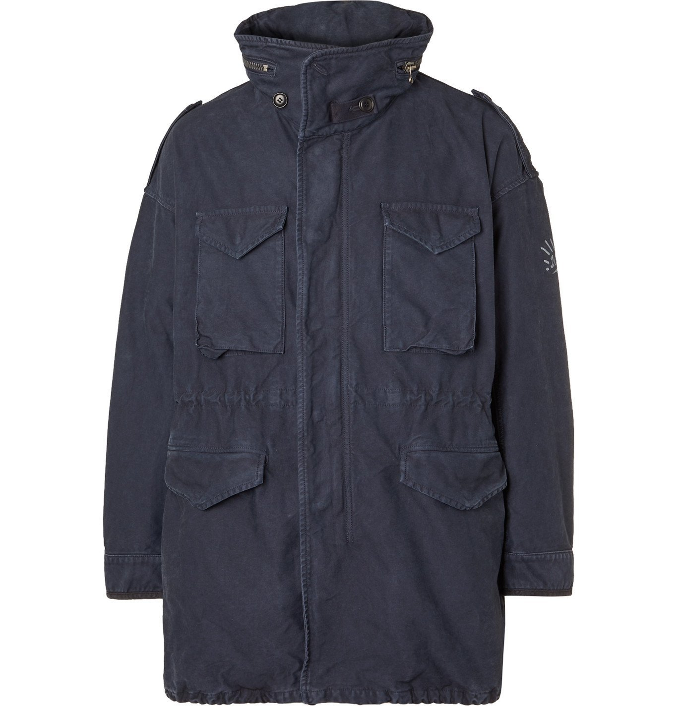 Photo: visvim - Hooded Logo-Print Cotton Parka - Blue