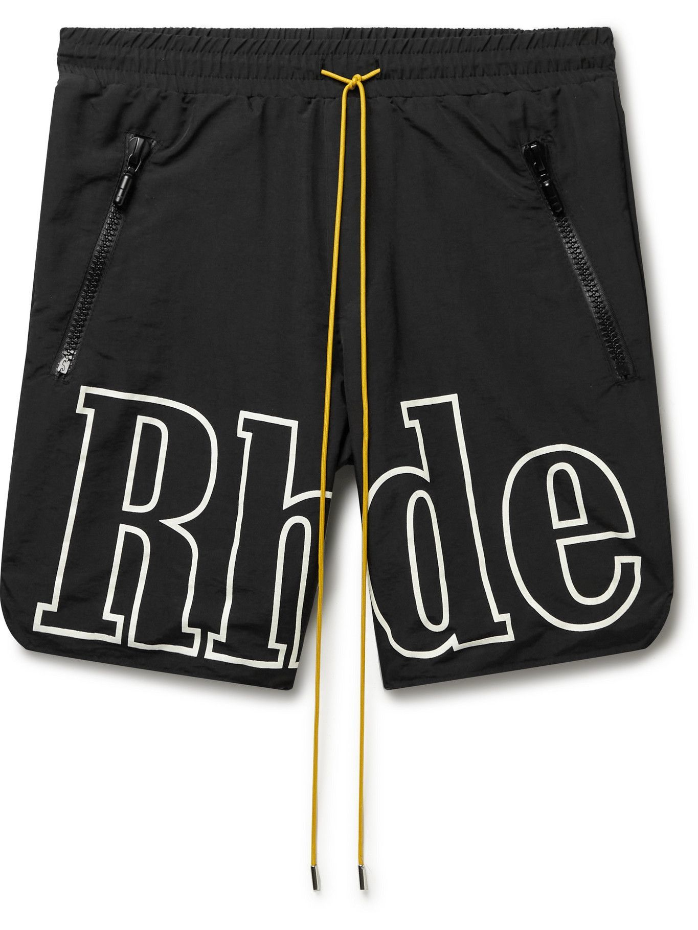 Photo: Rhude - Logo-Print Shell Drawstring Shorts - Black