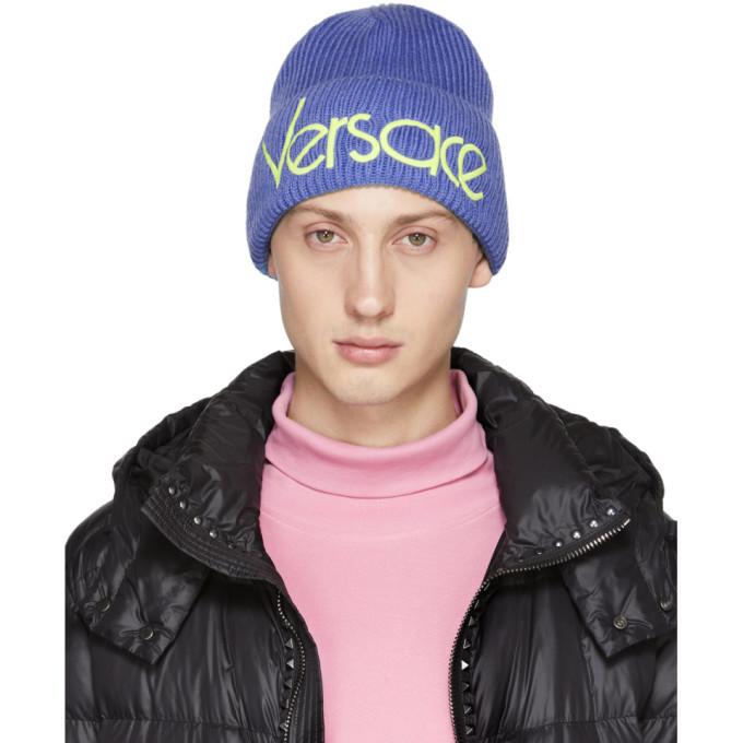 Photo: Versace Blue Wool Logo Beanie
