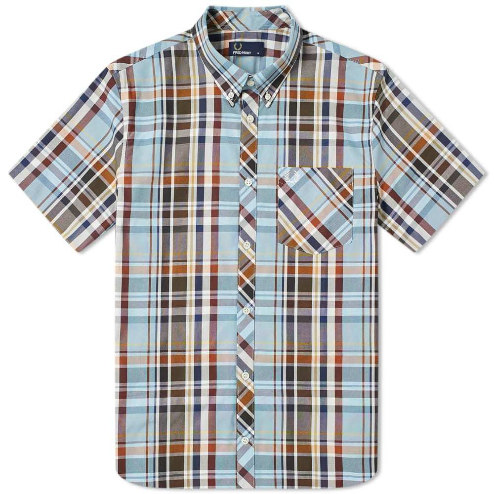 Photo: Fred Perry Madras Check Button Down Shirt Sky