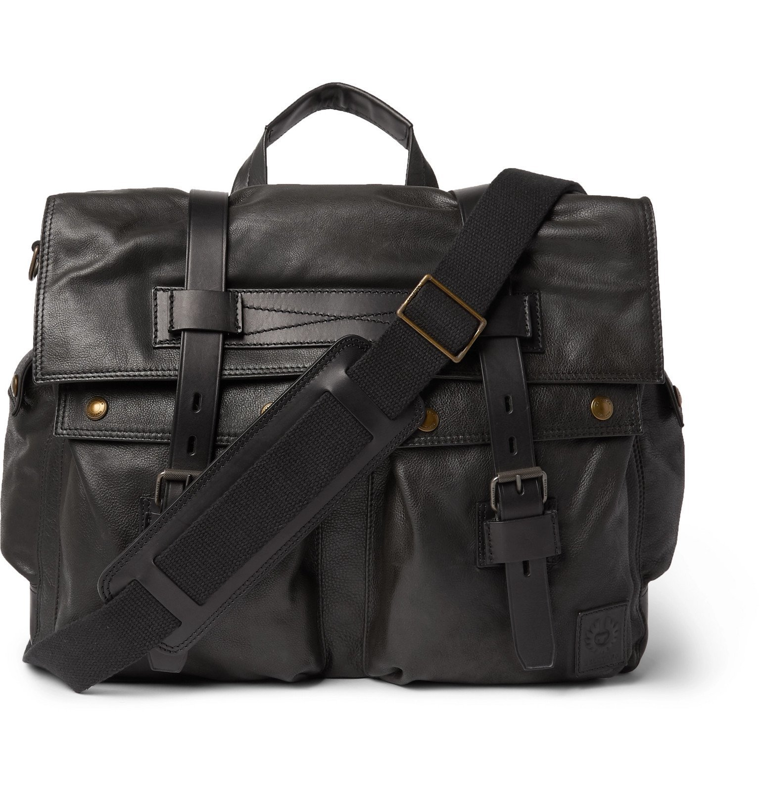 Photo: Belstaff - Waxed-Leather Messenger Bag - Black