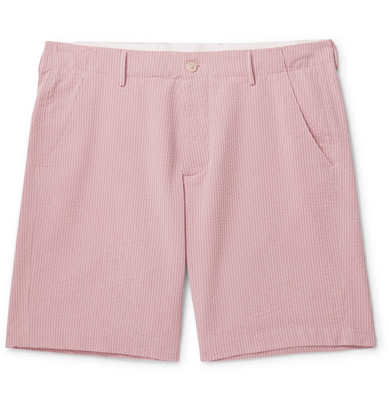 Photo: Boglioli - Striped Cotton-Seersucker Shorts - Pink