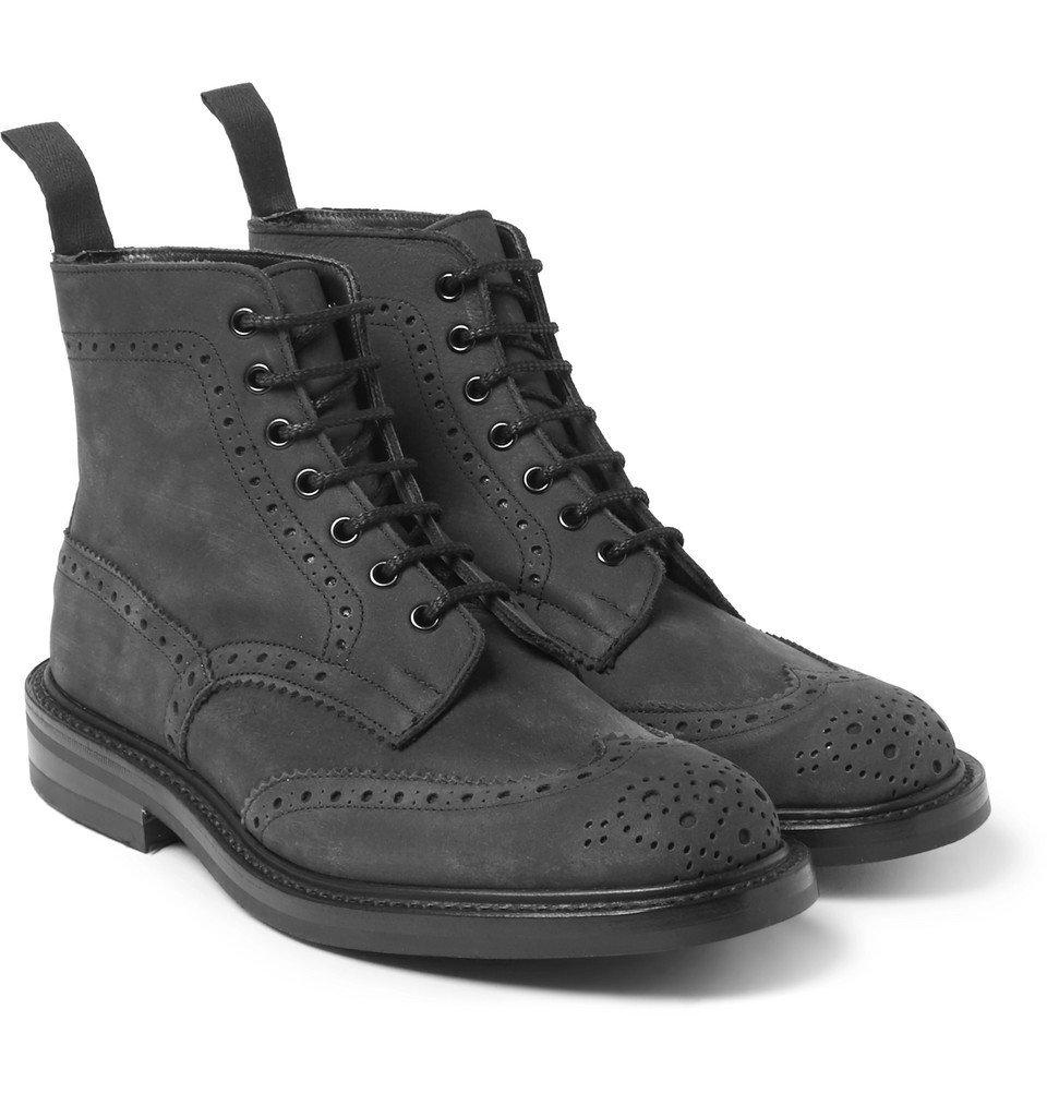 Photo: Tricker's - Stow Nubuck Brogue Boots - Gray