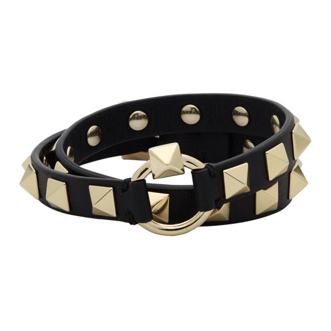 Photo: Valentino Black Valentino Garavani Rockstud Wrap Bracelet