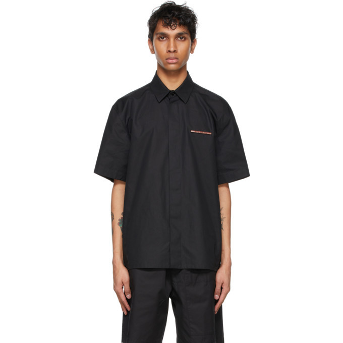 Photo: Jil Sander Black Poplin Pin Short Sleeve Shirt