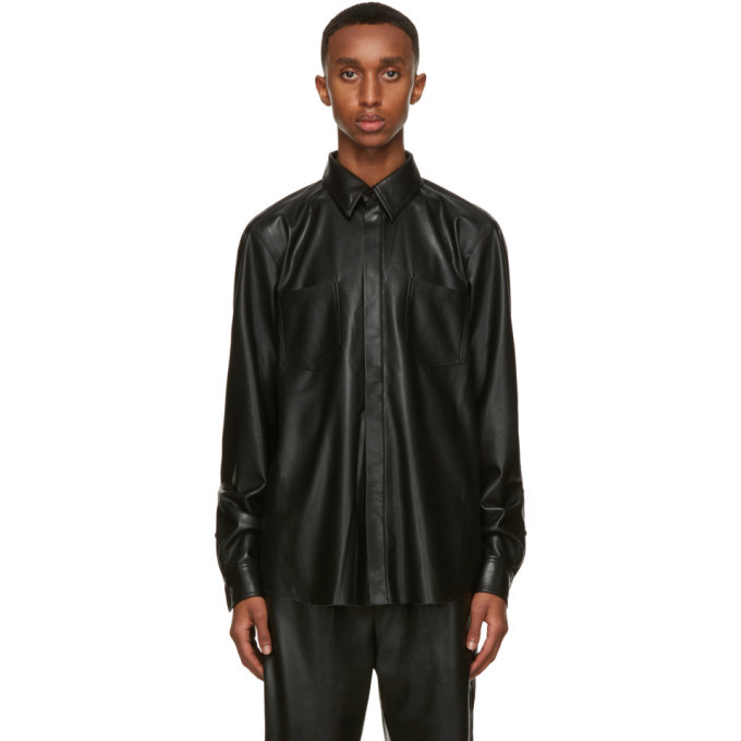 Photo: Nanushka Black Faux-Leather Declan Shirt