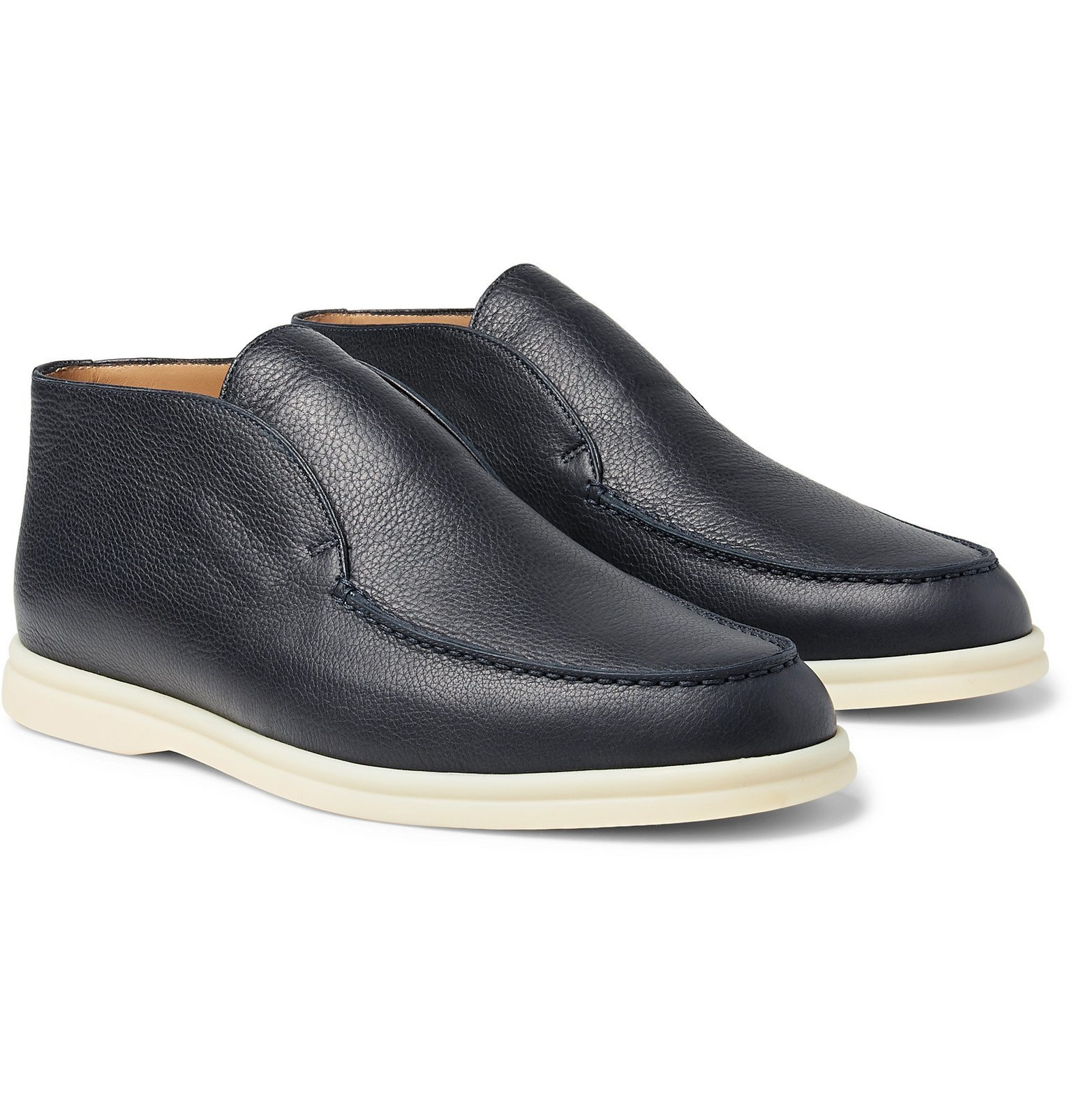 Photo: Loro Piana - Open Walk Full-Grain Leather Boots - Blue