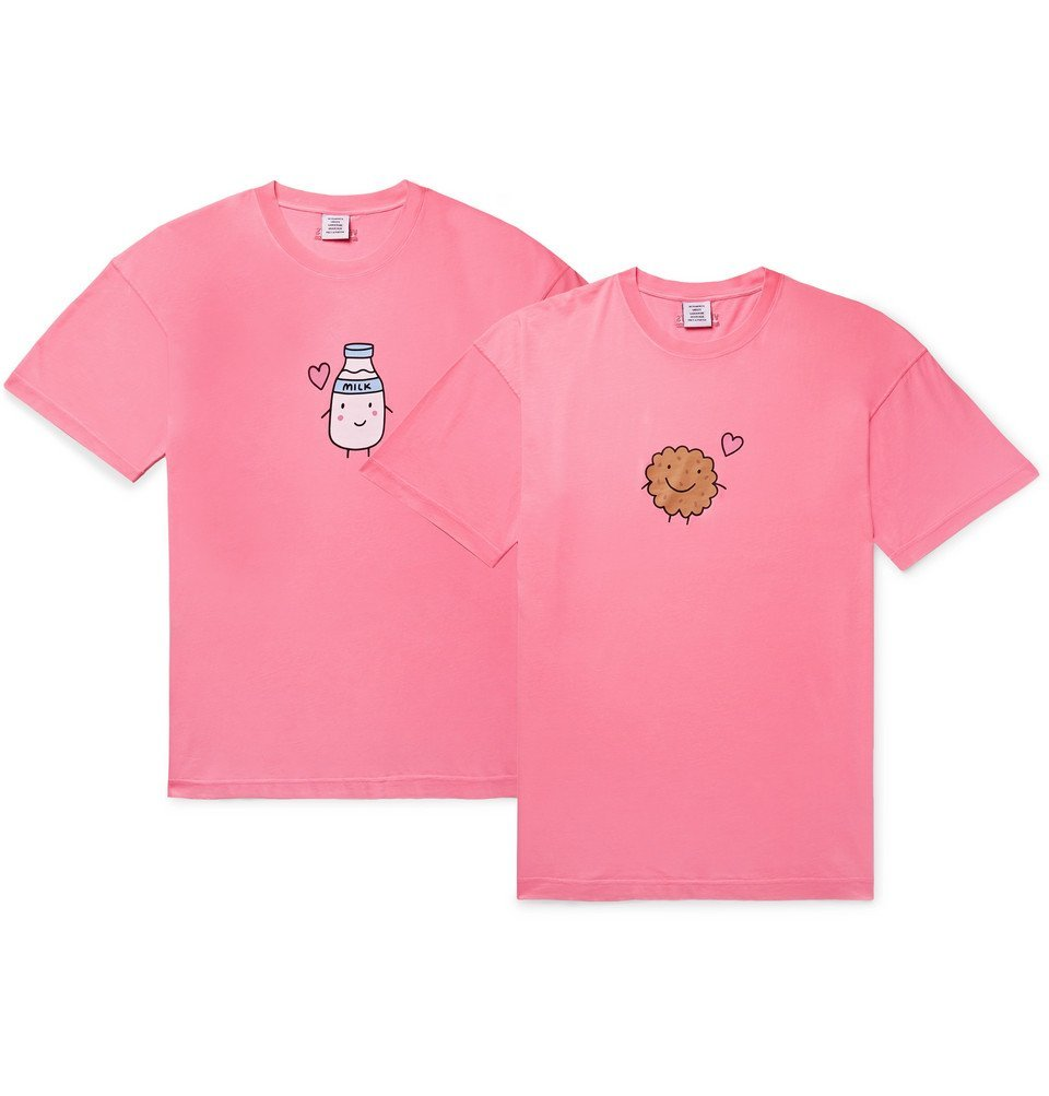 Photo: Vetements - Two-Pack Oversized Printed Cotton-Jersey T-Shirts - Pink