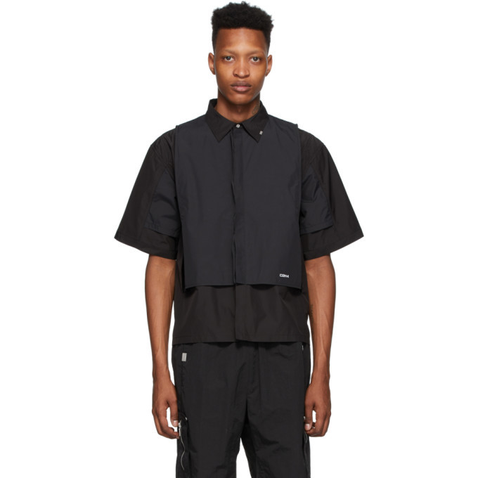 Photo: C2H4 Black Intervein Layered Short Sleeve Shirt