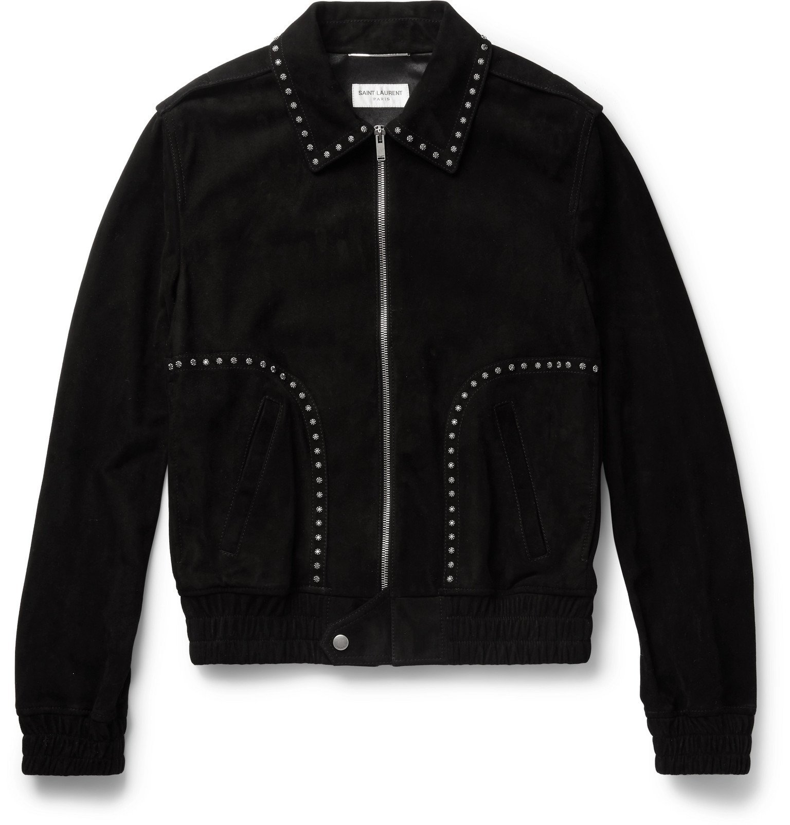 Photo: SAINT LAURENT - Studded Suede Blouson Jacket - Black