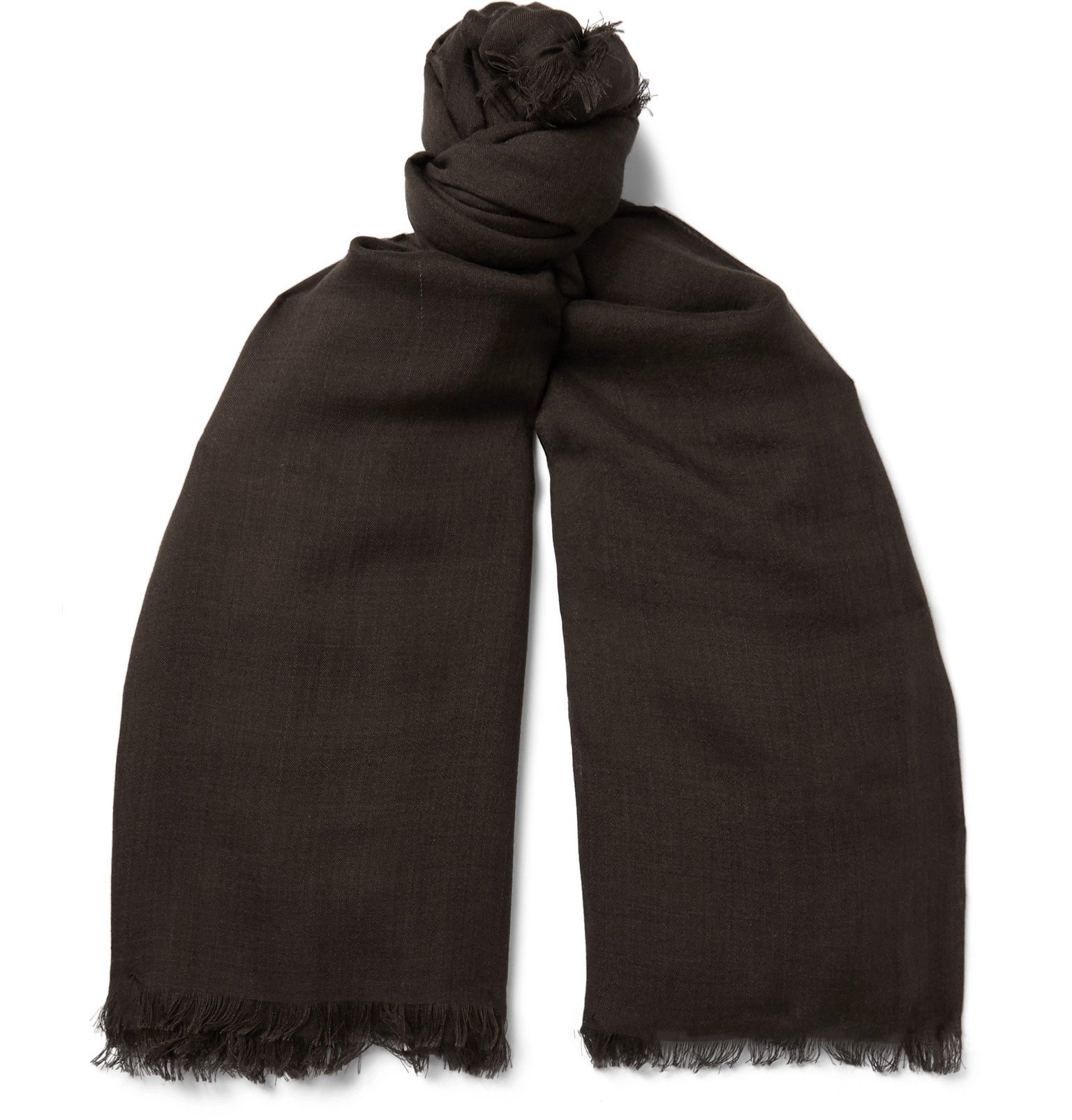 Photo: TOM FORD - Logo-Embroidered Wool and Silk-Blend Scarf - Brown