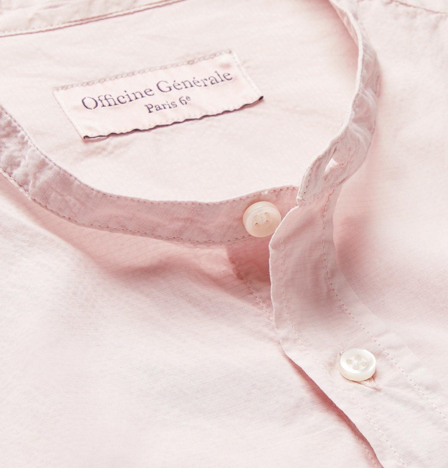 Officine Generale - Gaspard Slim-Fit Grandad-Collar Pigment-Dyed Cotton-Blend Seersucker Shirt - Pink