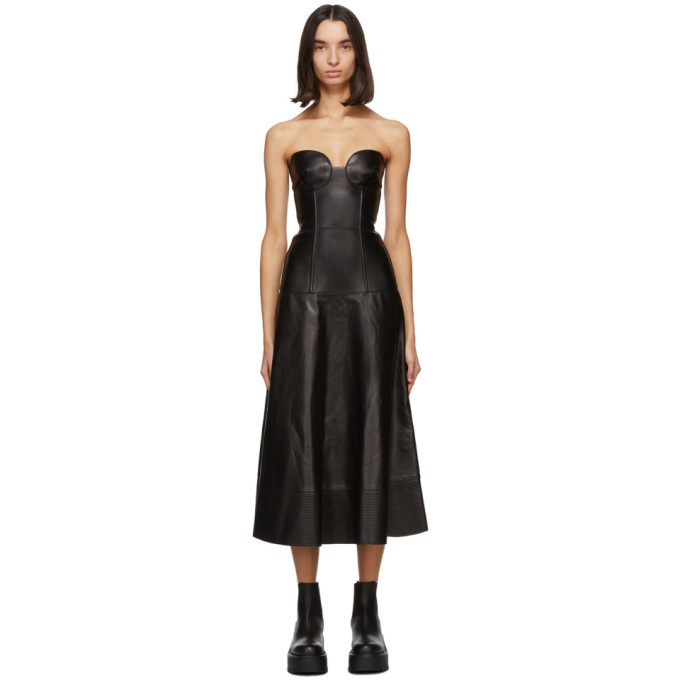 Photo: Valentino Black Leather Bustier Dress