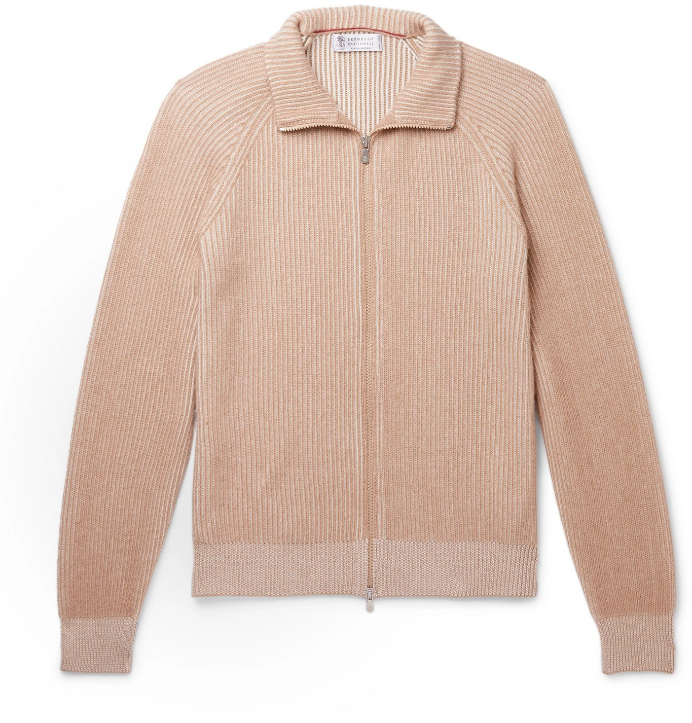 Photo: Brunello Cucinelli - Slim-Fit Ribbed Mélange Cashmere Zip-Up Sweater - Neutrals