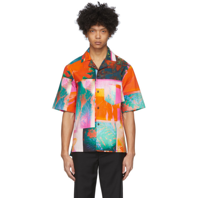 Photo: Acne Studios Pink and Orange Botanical Print Short Sleeve Shirt
