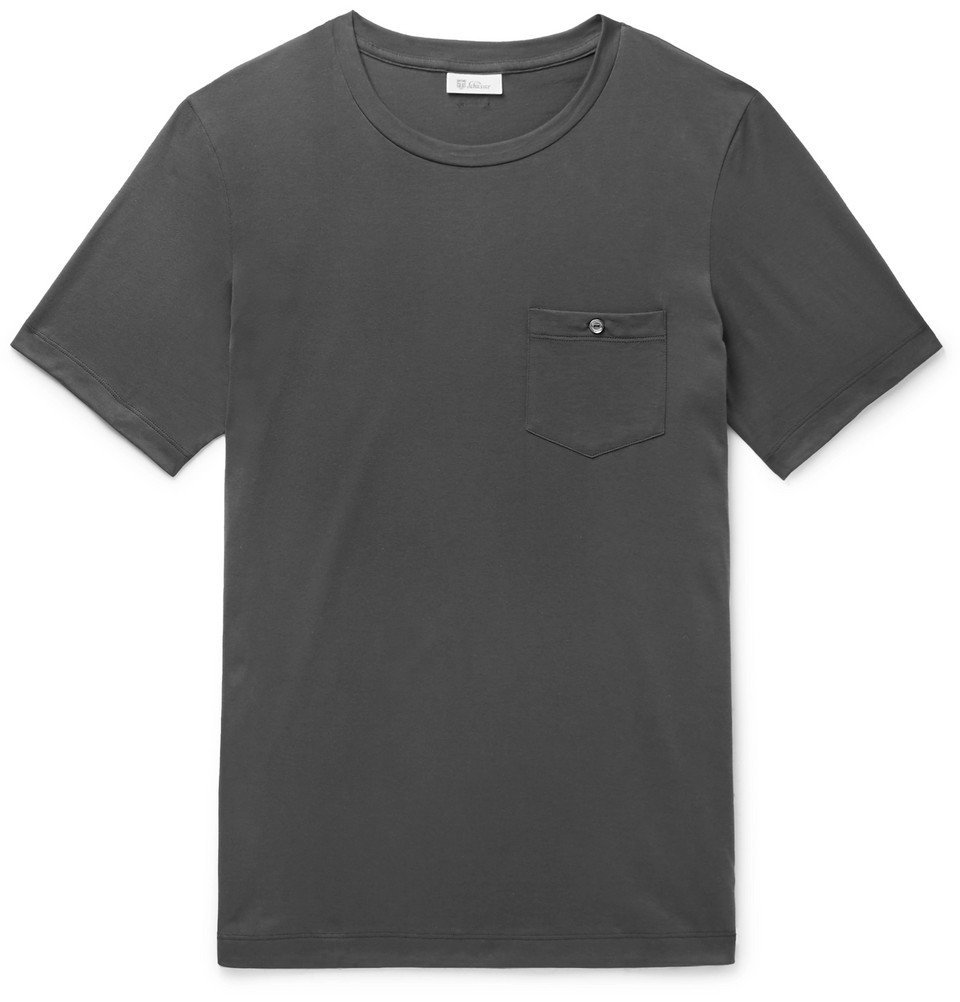 Schiesser - Josef Cotton-Jersey Pyjama T-shirt - Dark gray