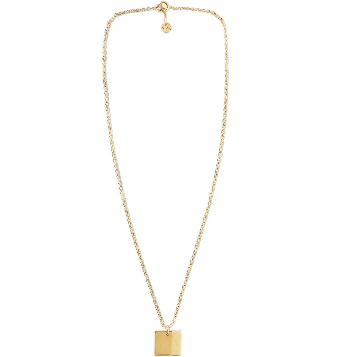 Photo: A.P.C. - Logo-Engraved Gold-Tone Necklace - Gold