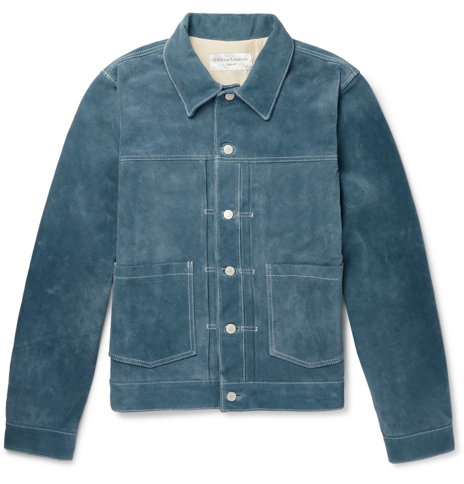 Photo: Officine Generale - Leo Suede Trucker Jacket - Blue