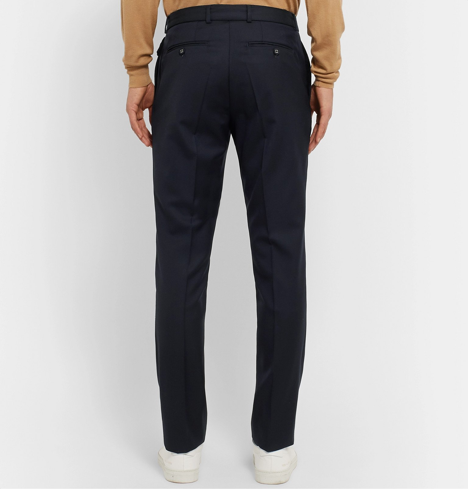 Officine Generale - Navy Paul Slim-Fit Belted Super 120s Wool Suit Trousers - Blue