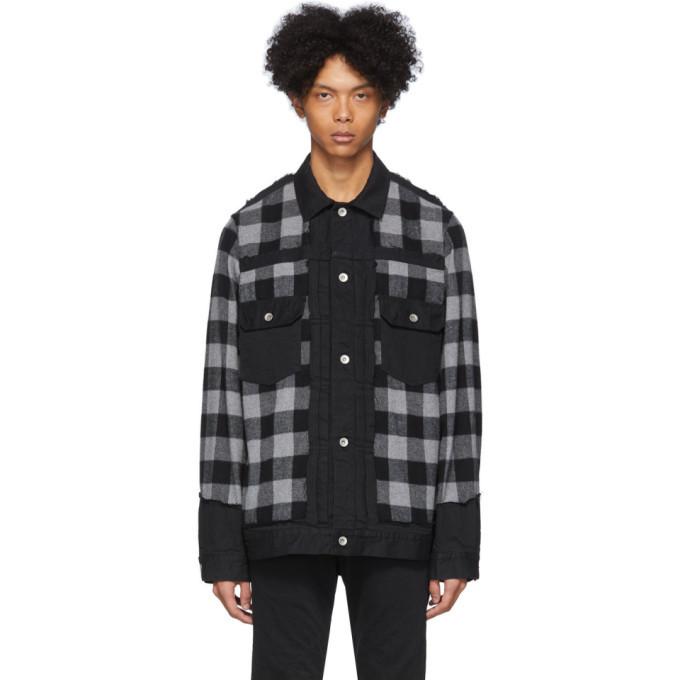 Photo: Sacai Black and Grey Panelled Denim Jacket