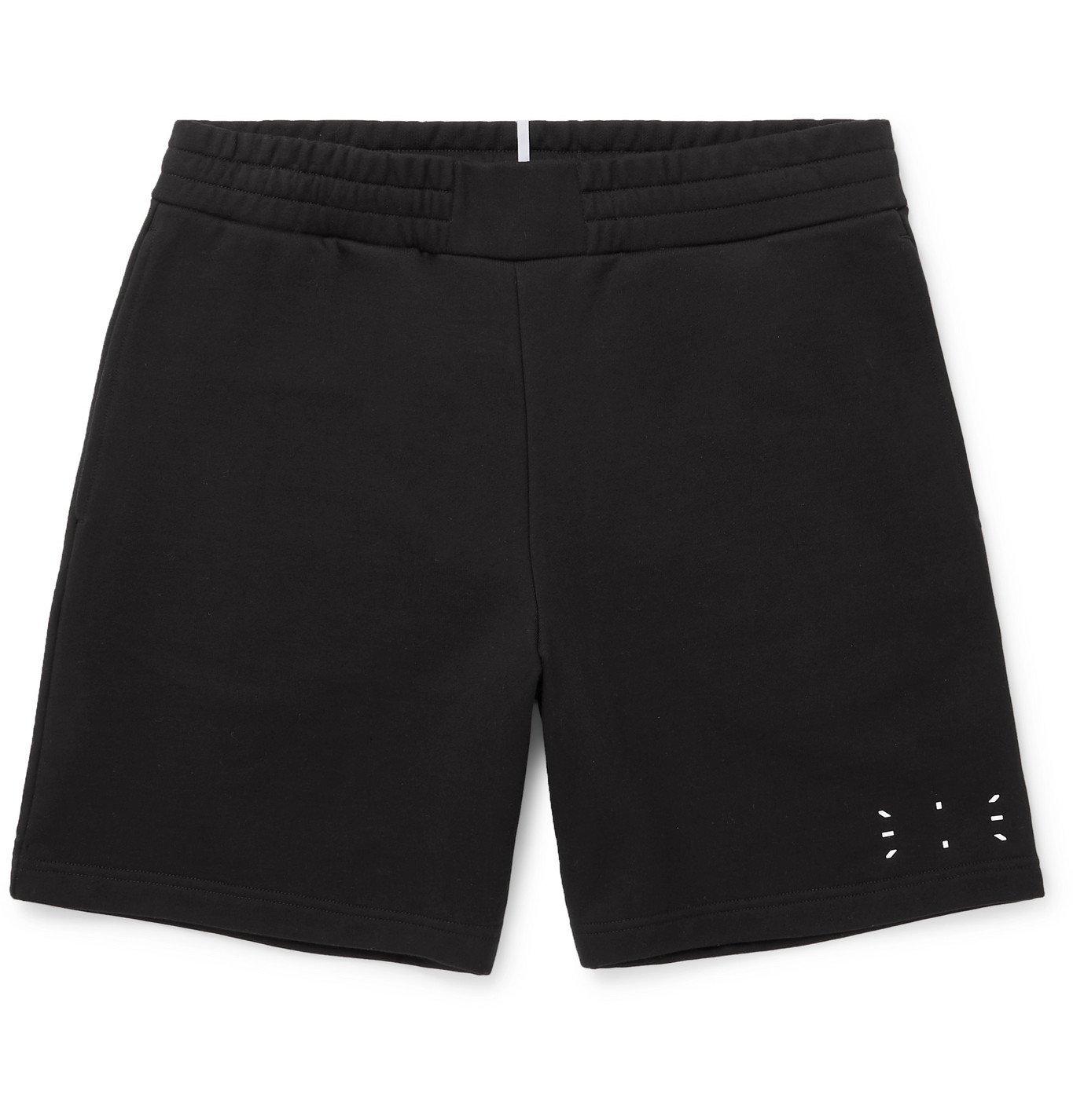 MCQ - Wide-Leg Appliquéd Cotton-Jersey Shorts - Black