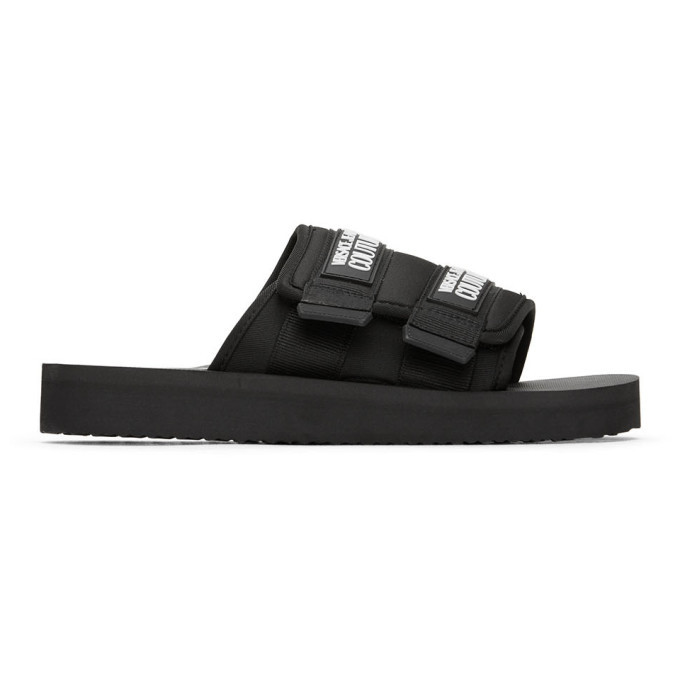 Photo: Versace Jeans Couture Black Double Strap Sandals