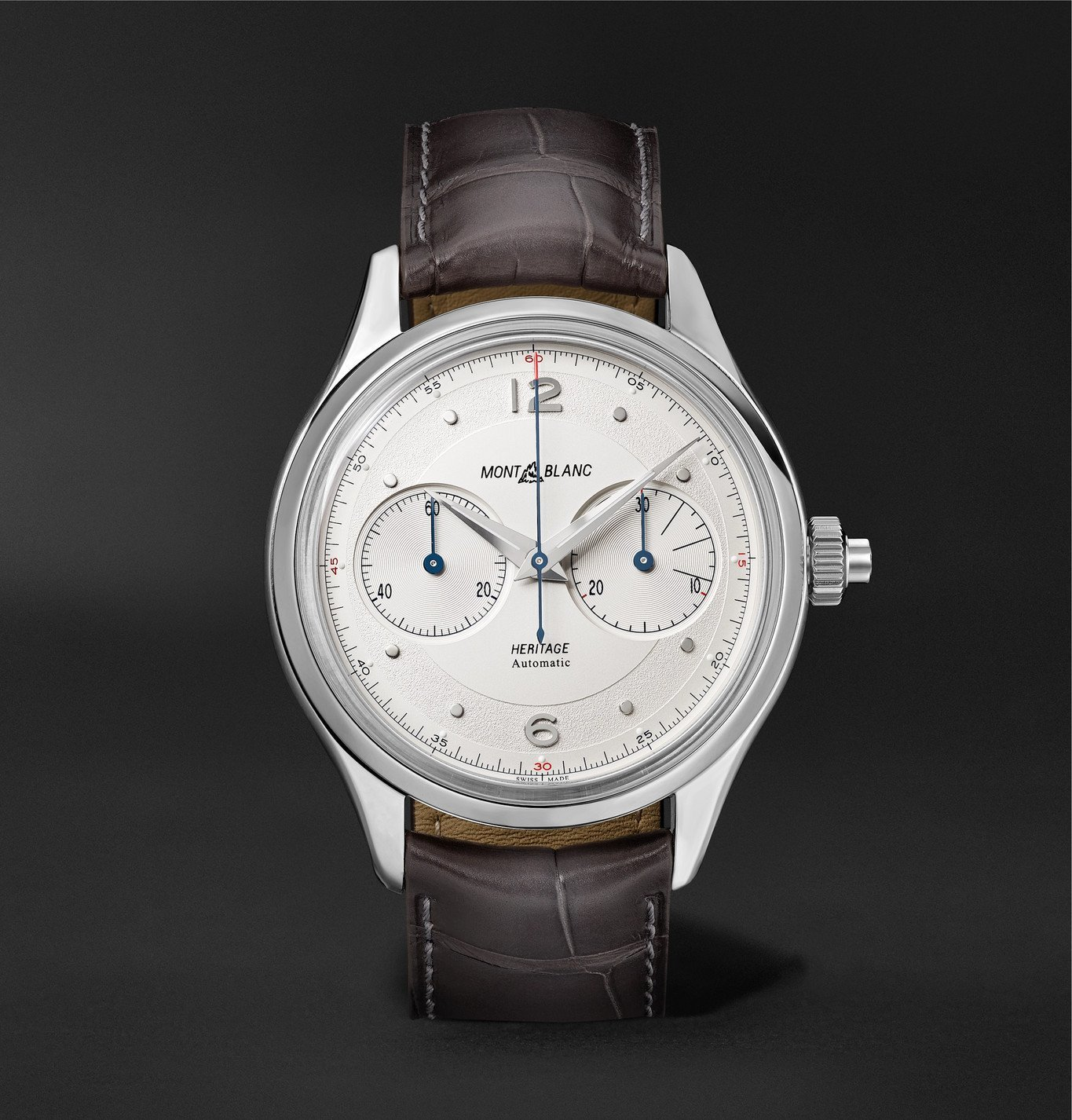 Photo: MONTBLANC - Heritage Monopusher Automatic Chronograph 42mm Stainless Steel and Alligator Watch, Ref. No. 119951 - White