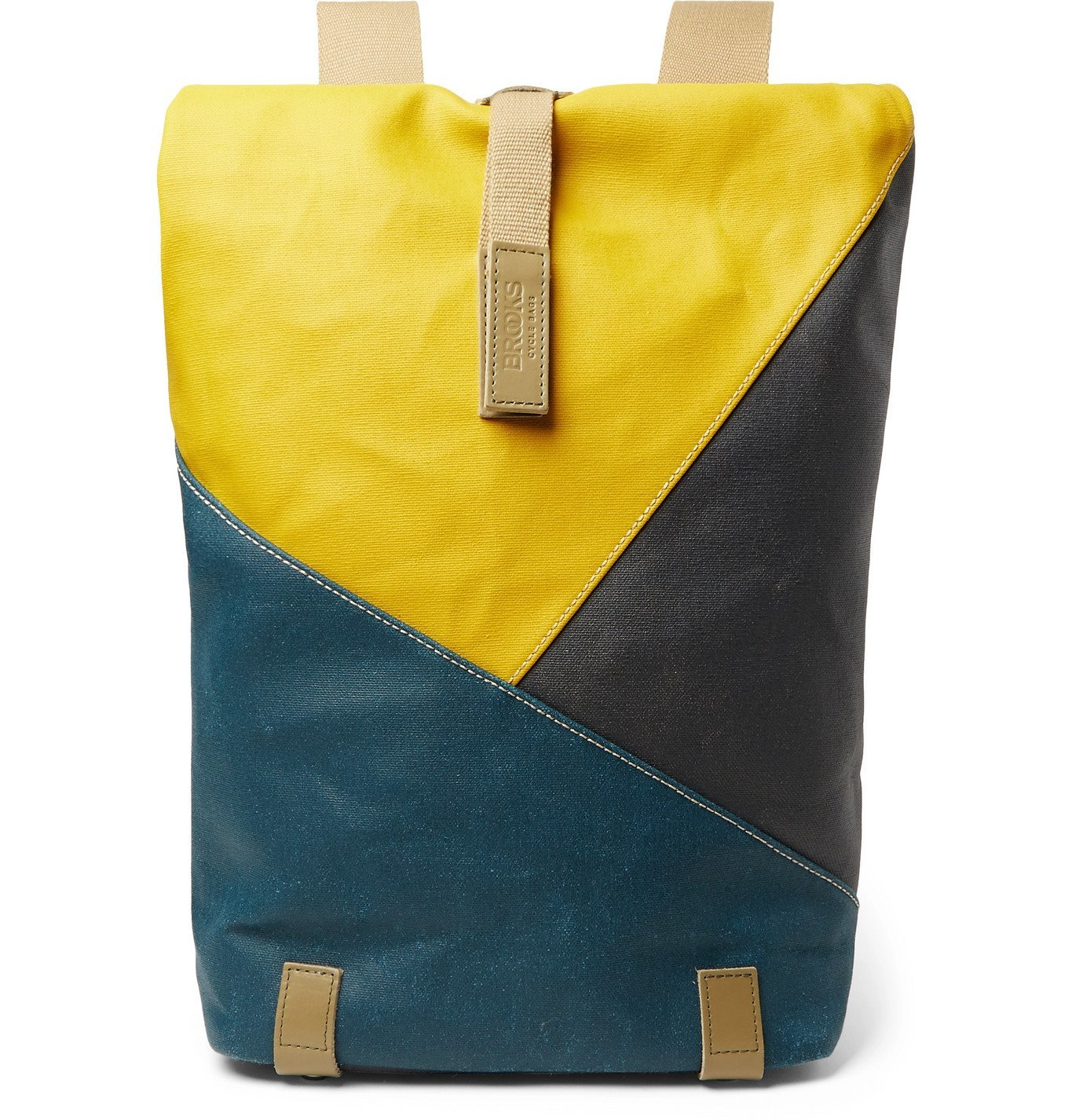 Photo: Brooks England - Pickwick Small Leather-Trimmed Patchwork Coated Cotton-Canvas Backpack - Multi