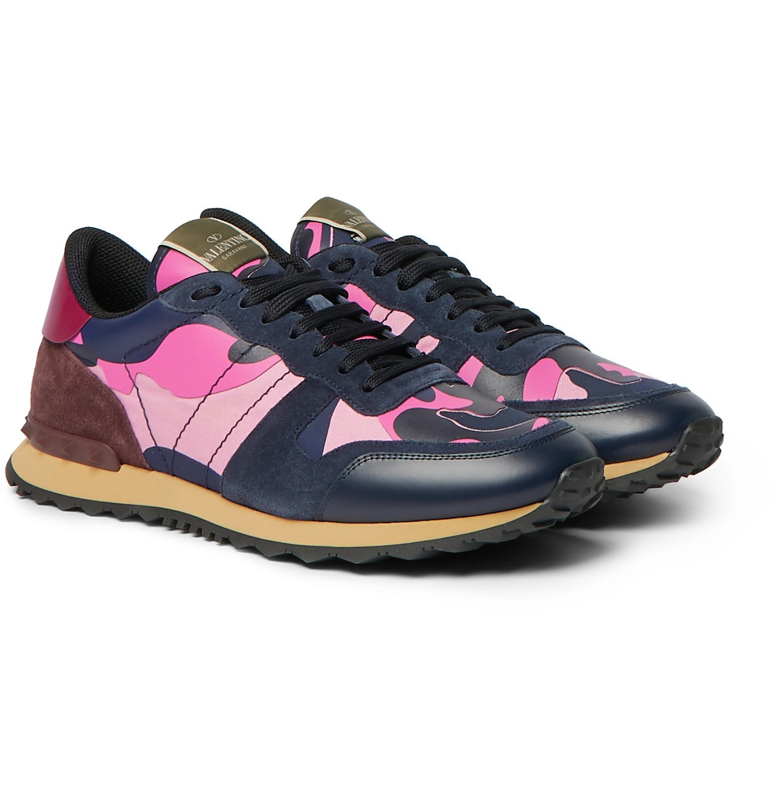 Photo: Valentino - Valentino Garavani Rockrunner Camouflage-Print Canvas, Leather and Suede Sneakers - Pink