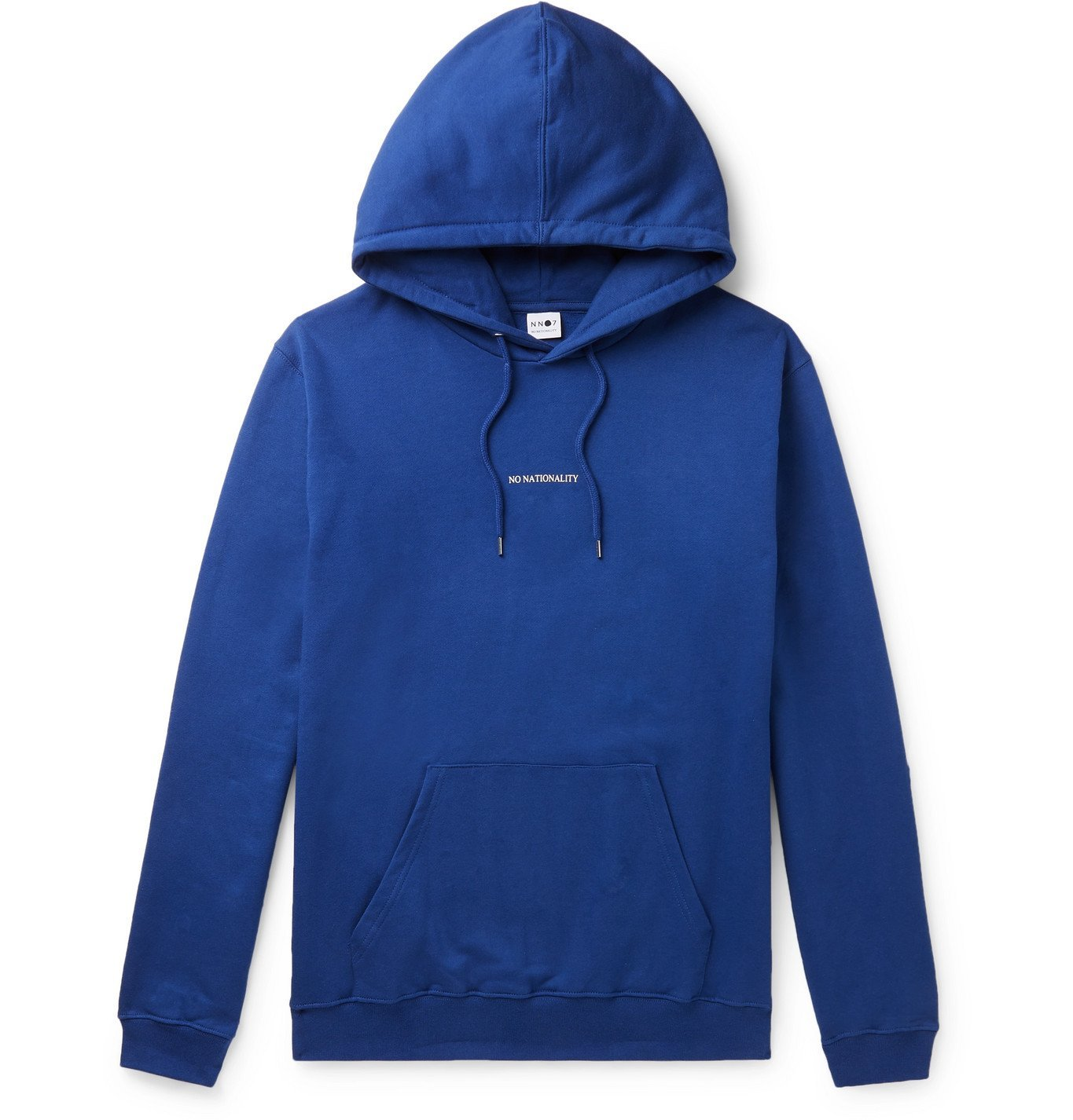 Photo: NN07 - Barrow Printed Combed Fleece-Back Cotton-Jersey Hoodie - Blue