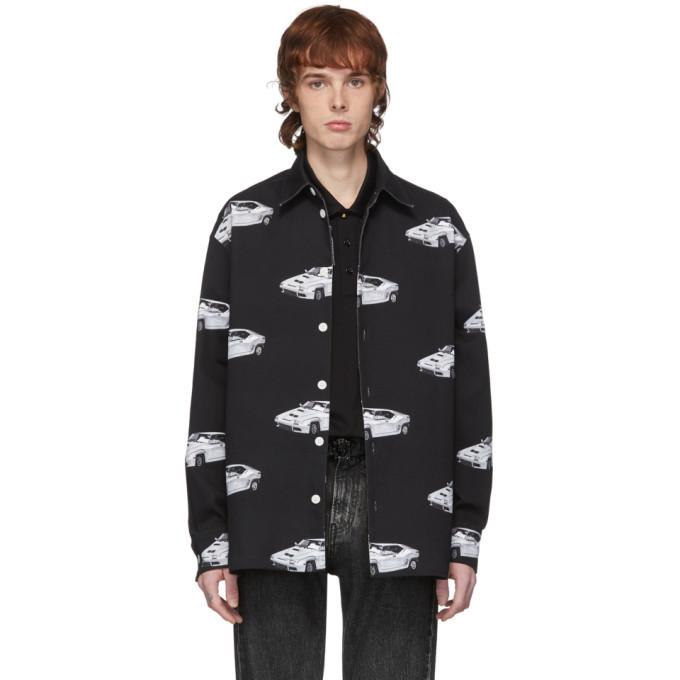 Versace Black Denim Race Car Shirt Jacket
