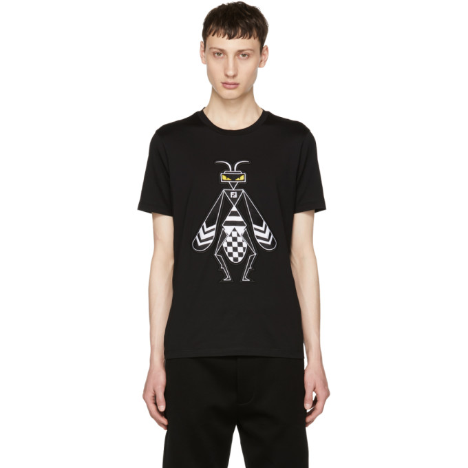 Photo: Fendi Black Embroidered Super Bugs T-Shirt